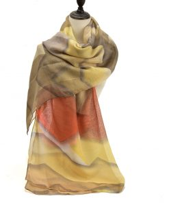 SF1191 YELLOW – Contrasting Colors Ink Drawing Pattern Scarf For Women