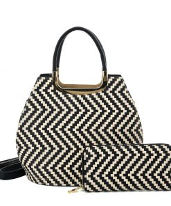 VK2123 KHAKI – Shell Set Bag With Simple Geometric Pattern Design