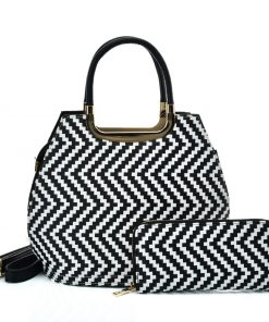 VK2123 WHITE – Shell Set Bag With Simple Geometric Pattern Design