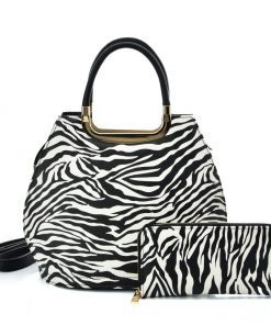 VK2124 WHITE – Simple Set Bag With Simple Zebra Print And Special Handle Design