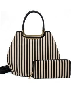 VK2126 BLACK&BEIGE – Simple Set Bag With Vertical Stripes And Special Handle Design