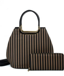 VK2126 BLACK&KHAKI – Simple Set Bag With Vertical Stripes And Special Handle Design