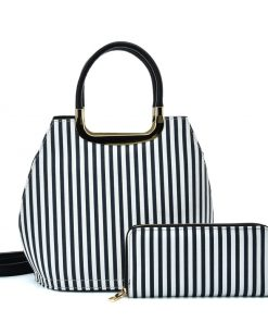 VK2126 BLUE&WHITE – Simple Set Bag With Vertical Stripes And Special Handle Design