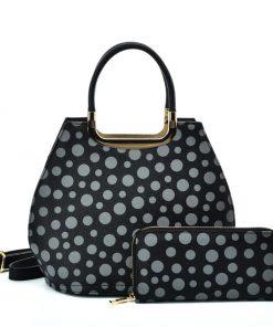 VK2127 BLACK&GREY – Simple Set Bag With Dot And Special Handle Design