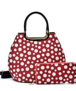 VK2127 RED&WHITE – Simple Set Bag With Dot And Special Handle Design