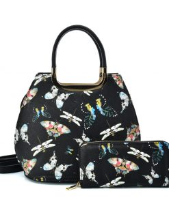 VK2128 BLACK – Simple Set Bag With Butterfly And Special Handle Design