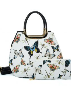 VK2128 WHITE – Simple Set Bag With Butterfly And Special Handle Design