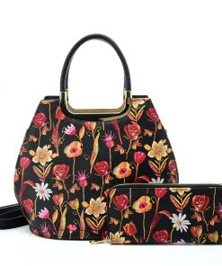 VK2129 BLACK – Simple Set Bag With Flowers And Special Handle Design