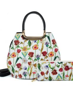 VK2129 GREEN – Simple Set Bag With Flowers And Special Handle Design