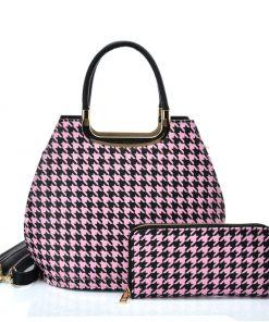 VK2130 PINK – Shell Set Bag With Houndstooth Design