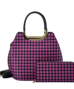 VK2130 PURPLE – Shell Set Bag With Houndstooth Design