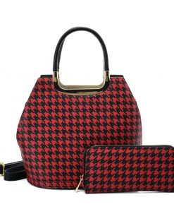 VK2130 RED – Shell Set Bag With Houndstooth Design