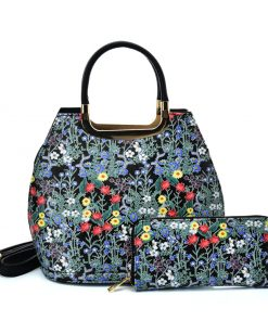 VK2132 BLACK – Shell Set Bag With Small Flowers And Special Handle Design