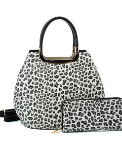 VK2134 GREY – Shell Set Bag With Leopard Print And Special Handle Design