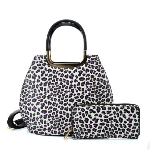 VK2134 PURPLE – Shell Set Bag With Leopard Print And Special Handle Design