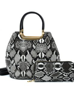 VK2136 GREY – Shell Set Bag With Snakeskin Pattern And Special Handle Design