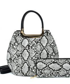 VK2137 BLACK&WHITE – Shell Set Bag With Snakeskin Pattern Design