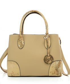 VK5509-NEW APRICOT – Solid Color Simple Tote Bag With Handle And Bottom Sequins Design