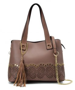 VK5585 COFFEE – Solid Color Handbag With Studs And Chain Decoration