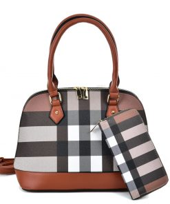 VK5599 BROWN – Simple Set Bag With Cross Lattice Design