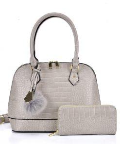 VK5601 BEIGE – Pure Color Set Bag With Velvet Ball Decoration