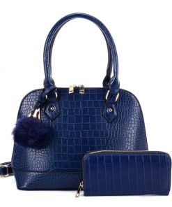 VK5601 BLUE – Pure Color Set Bag With Velvet Ball Decoration