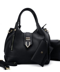 VK5602 BLACK – Pure Color Set Bag With Buckle Design And Metal Ring Decoration