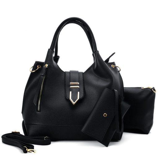 VK5602 BLACK – Pure Color Set Bag With Buckle Design And Metal Ring Decoration
