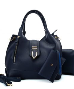 VK5602 BLUE – Pure Color Set Bag With Buckle Design And Metal Ring Decoration