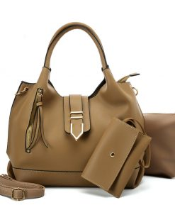 VK5602 KHAKI – Pure Color Set Bag With Buckle Design And Metal Ring Decoration