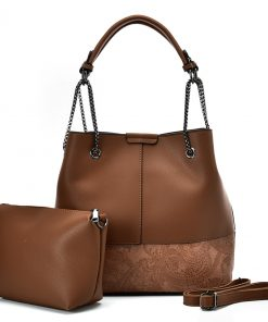 VK5603 BROWN – Solid Color Set Bag With Symmetrical Design And Special Handles