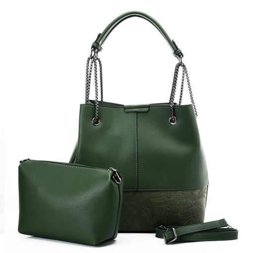 VK5603 GREEN – Solid Color Set Bag With Symmetrical Design And Special Handles
