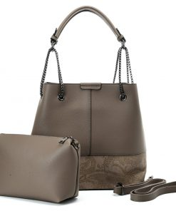VK5603 KHAKI – Solid Color Set Bag With Symmetrical Design And Special Handles