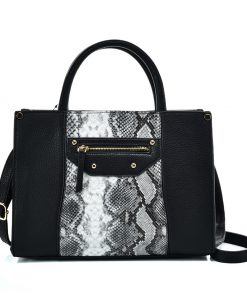 VK5606 BLACK – Simple Tote Bag With Snakeskin Decoration