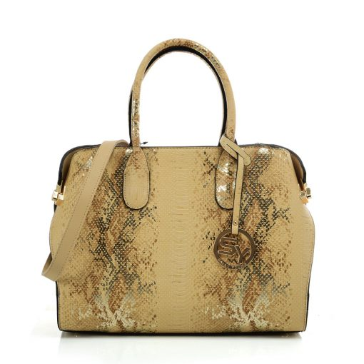 VK5607 APRICOT – Simple Solid Color Tote Bag With Symmetrical Sequins Pattern Design