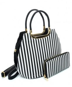VK2126 BLACK&WHITE – Simple Set Bag With Vertical Stripes And Special Handle Design