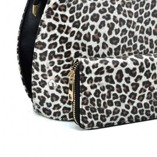VK2134 LIGHT BROWN – Shell Set Bag With Leopard Print And Special Handle Design