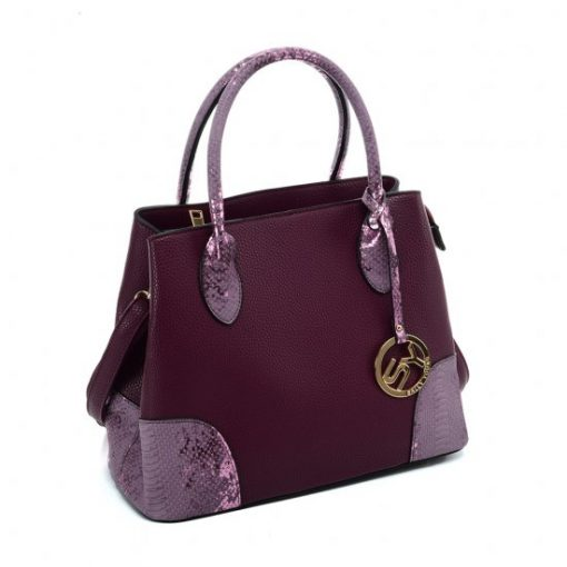 VK5509-NEW PURPLE – Solid Color Simple Tote Bag With Handle And Bottom Sequins Design