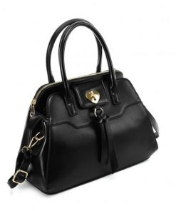 VK5589 BLACK – Pure Color Tote Bag With Circle Buckle Design