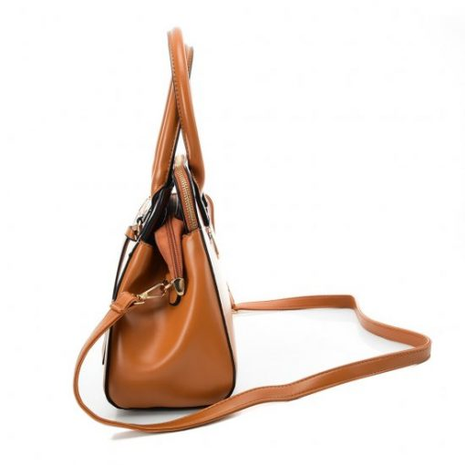 VK5589 BROWN – Pure Color Tote Bag With Circle Buckle Design