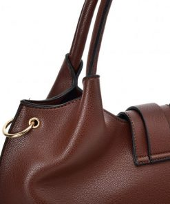 VK5602 COFFEE – Pure Color Set Bag With Buckle Design And Metal Ring Decoration