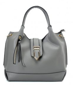 VK5602 GREY - Pure Color Set Bag With Buckle Design And Metal Ring Decoration