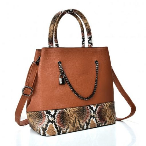 VK5605 BROWN – Simple Tote Bag With Chain And Lock Decoration