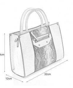 VK5606 BLACK – Simple Tote Bag With Snakeskin Decoration