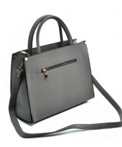 VK5606 GREY – Simple Tote Bag With Snakeskin Decoration