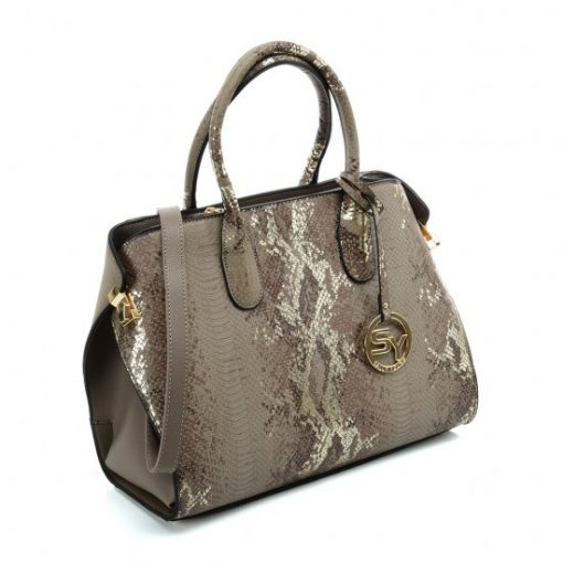 VK5607 KHAKI – Simple Solid Color Tote Bag With Symmetrical Sequins Pattern Design