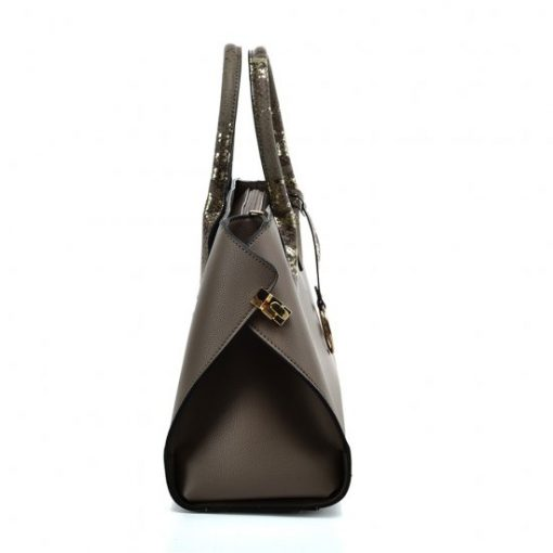 VK5608 KHAKI – Simple Solid Color Tote Bag With Sequins Design