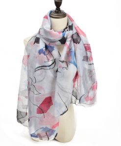 SF1204 GREY – Abstract Painting Pattern Scarf For Women