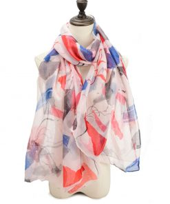 SF1204 PINK – Abstract Painting Pattern Scarf For Women