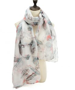 SF1205 BLACK - Feather Pattern Scarf For Women